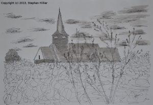 Laindon Church in Black Indian Ink