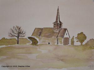 Laindon Church ink wash