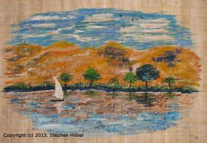 Pastel painting of a scene along the Nile