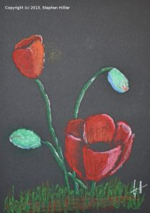 Poppies in Oil Pastel