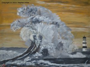 Wave at Seaham painted in Royal Talens Cobra water mixable oil