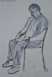 Life drawing in charcoal and white pastel